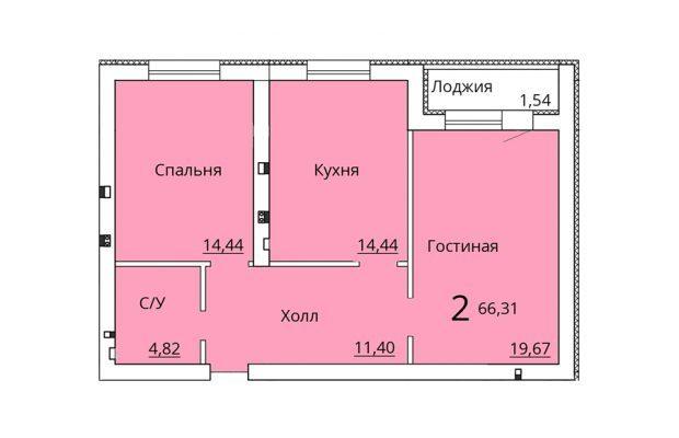 Двухкомнатная квартира 66.31