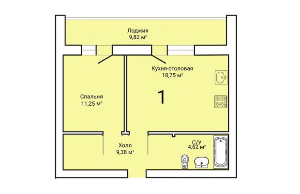 1-комнатная квартира 48.91