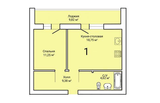Однокомнатная квартира 48.91
