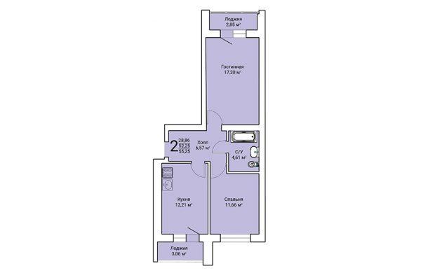 Двухкомнатная квартира 55.25