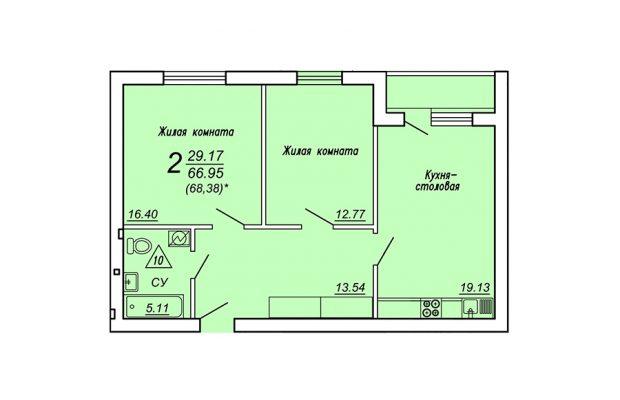 Двухкомнатная квартира 68.38