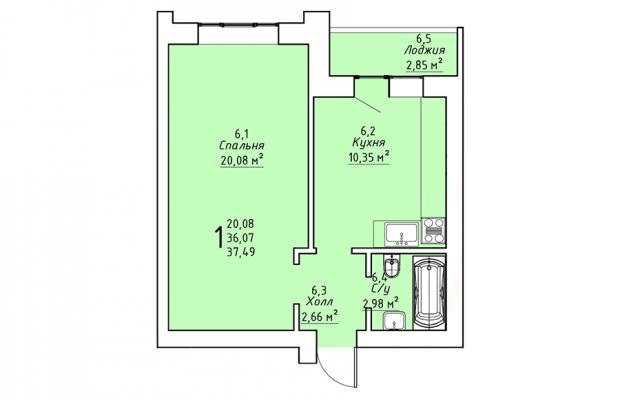 Однокомнатная квартира 37.49