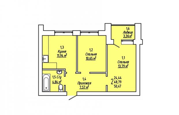 Двухкомнатная квартира 50.47