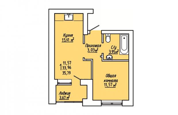 1-комнатная квартира 35.79