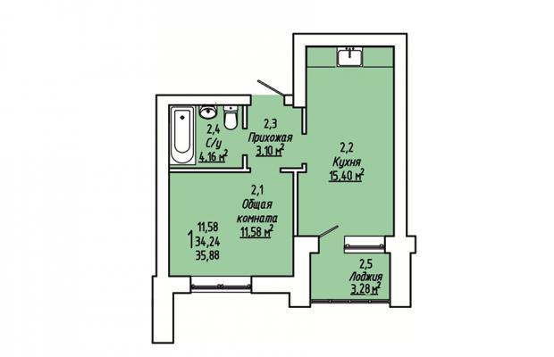 1-комнатная квартира 35.88