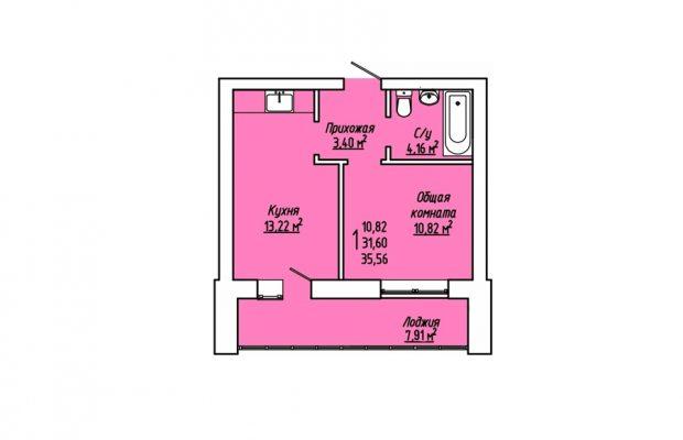 1-комнатная квартира 35.56