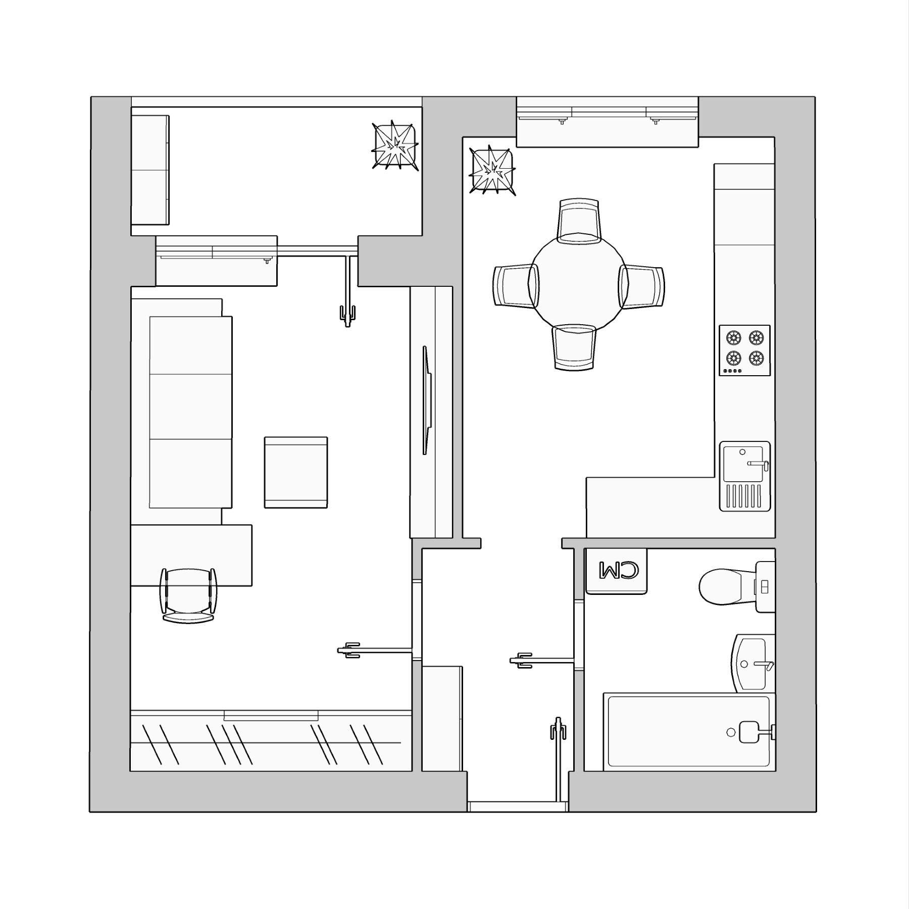 1-комнатная квартира 35.78