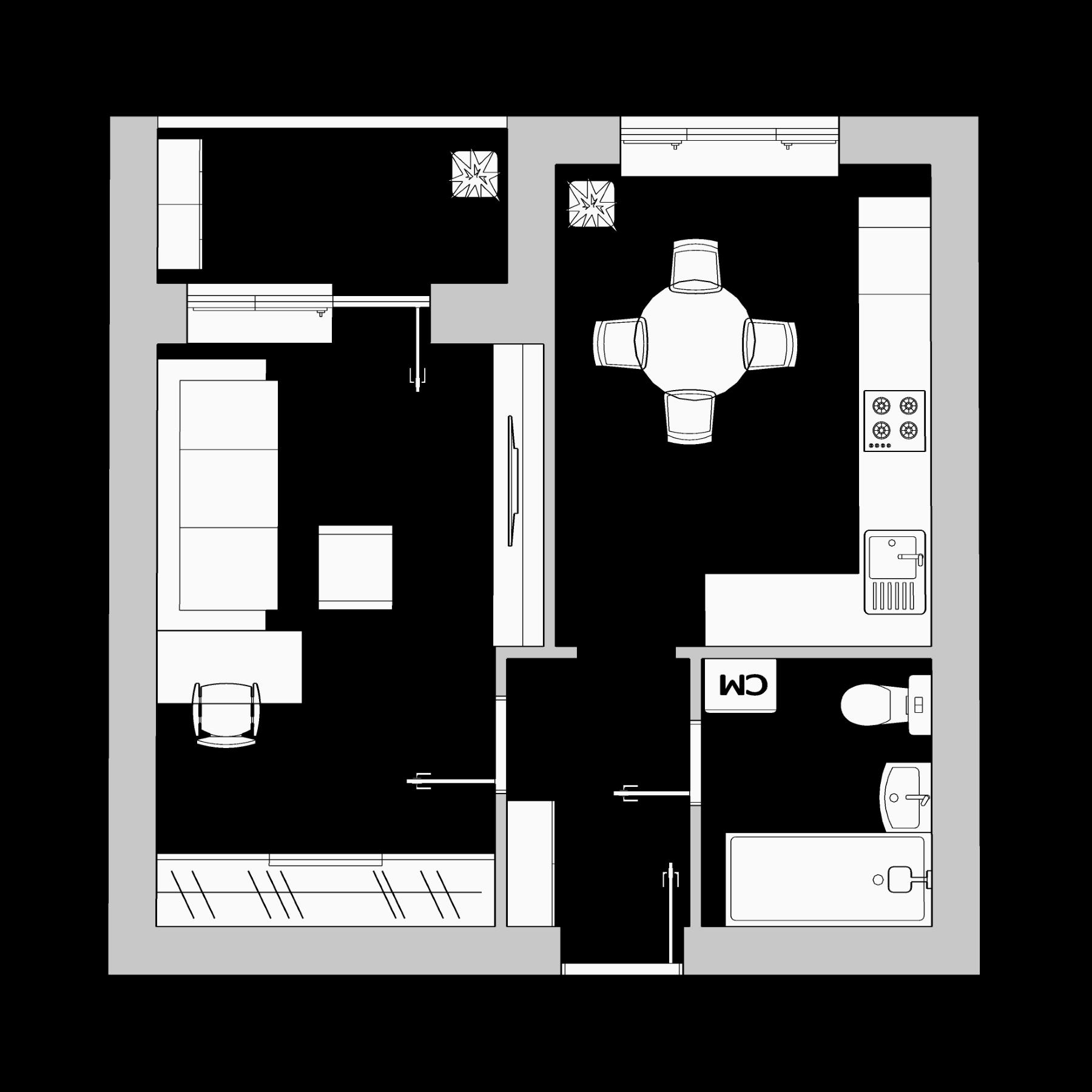 Однокомнатная квартира 35.78