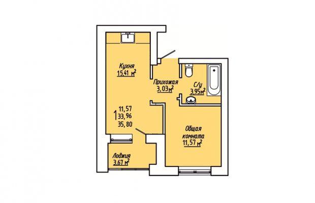 1-комнатная квартира 35.8