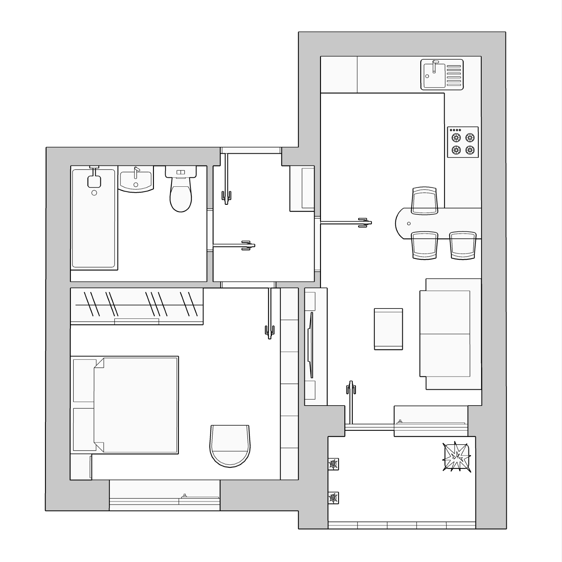 1-комнатная квартира 35.89