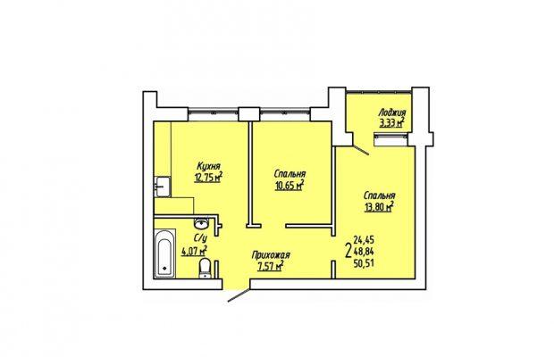 Двухкомнатная квартира 50.51