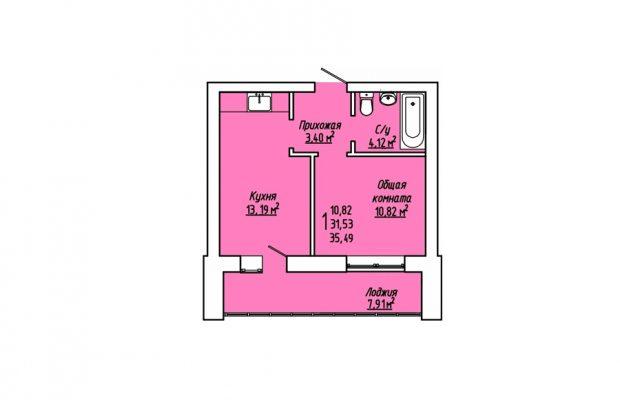 1-комнатная квартира 35.49