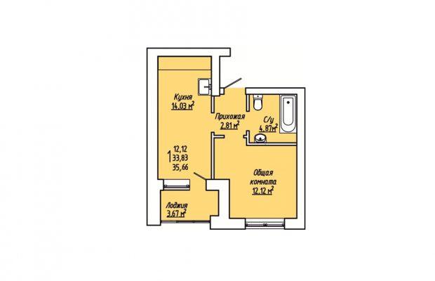 1-комнатная квартира 35.66