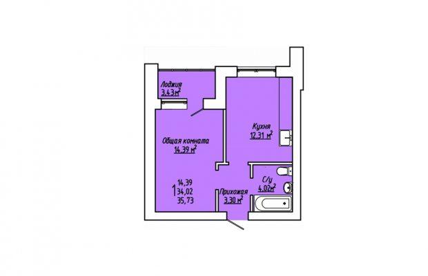 1-комнатная квартира 35.73