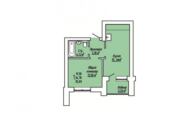 1-комнатная квартира 35.83