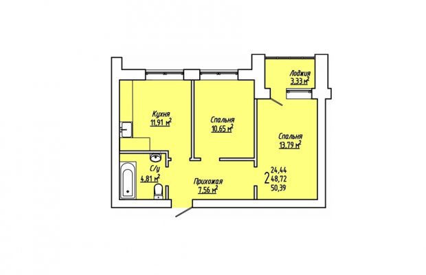 Двухкомнатная квартира 50.39