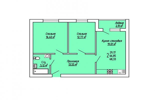 2-комнатная квартира 68.33