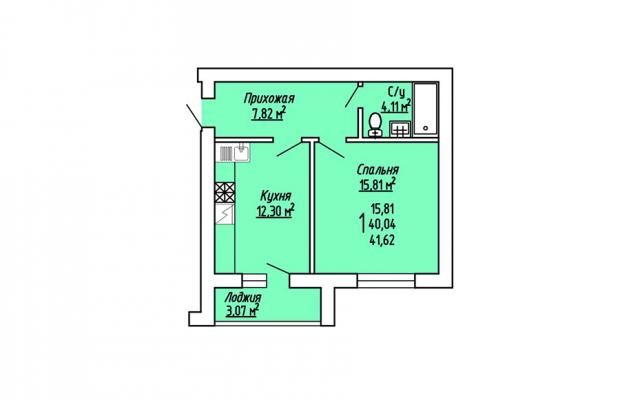 1-комнатная квартира 41.62