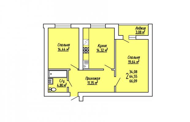 2-комнатная квартира 66.09