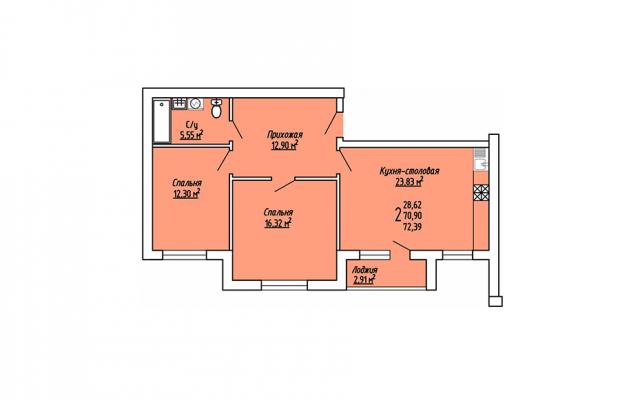 2-комнатная квартира 72.39