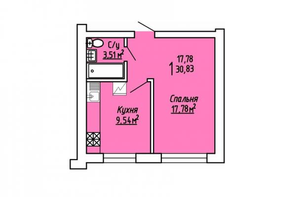 1-комнатная квартира 30.83