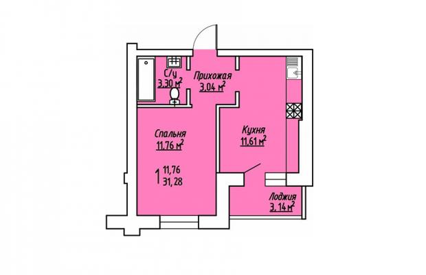 1-комнатная квартира 31.28