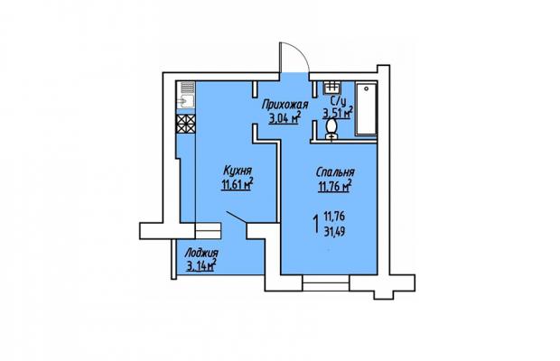1-комнатная квартира 31.49