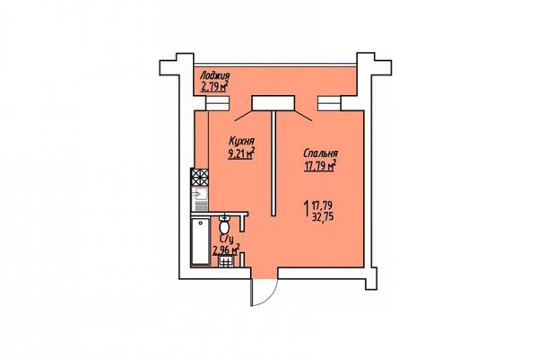 1-комнатная квартира 32.75