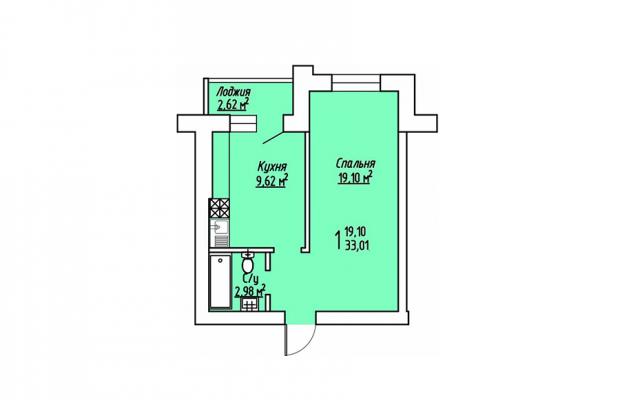 1-комнатная квартира 33.01