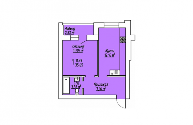 1-комнатная квартира 35.65
