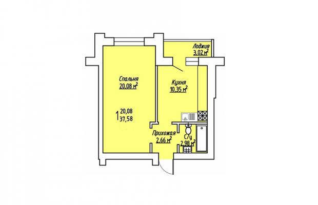 1-комнатная квартира 37.58