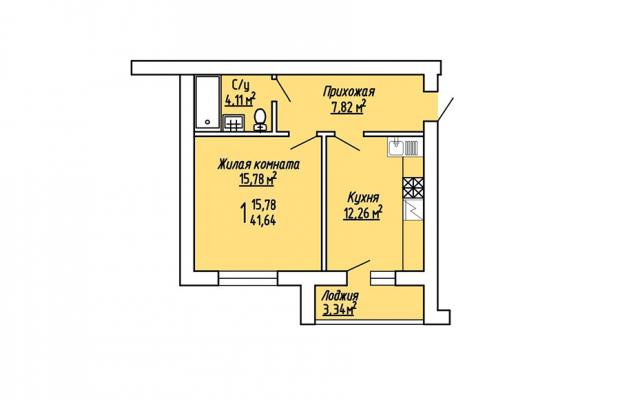 1-комнатная квартира 41.64