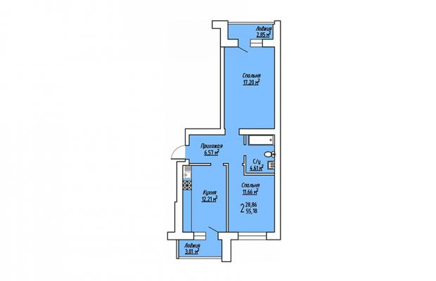 2-комнатная квартира 55.18