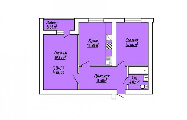 2-комнатная квартира 66.29