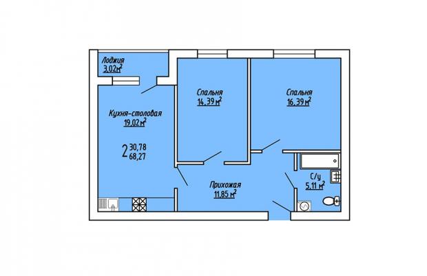 2-комнатная квартира 68.27