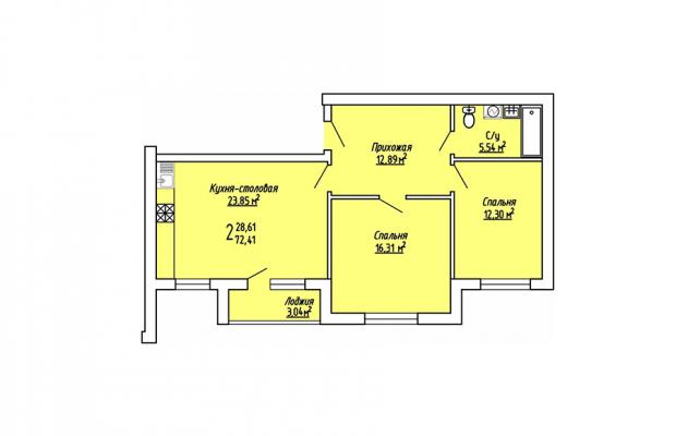 2-комнатная квартира 72.41
