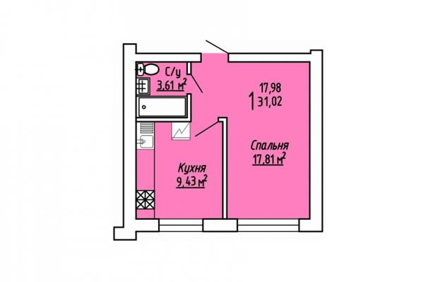 1-комнатная квартира 31.02