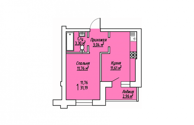 1-комнатная квартира 31.19