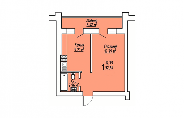 1-комнатная квартира 32.67