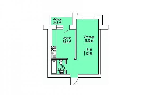 1-комнатная квартира 32.93