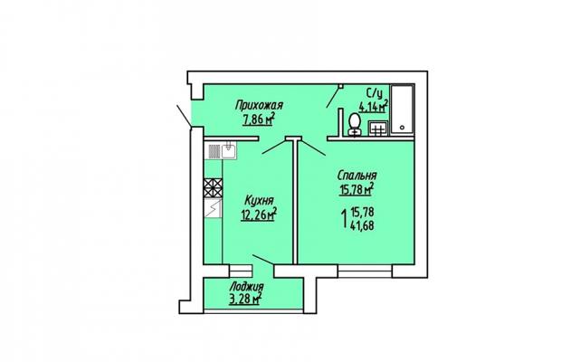 1-комнатная квартира 41.68