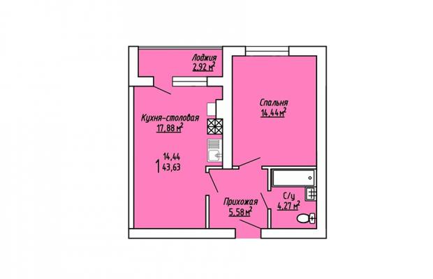 1-комнатная квартира 43.63
