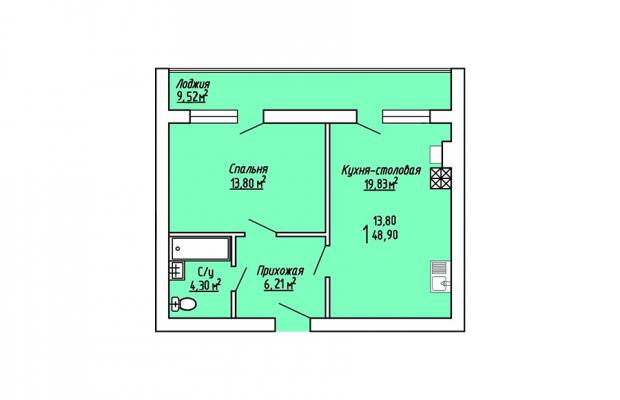 1-комнатная квартира 48.90