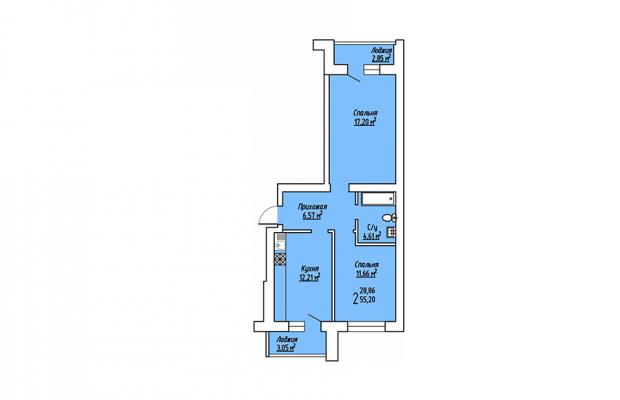 2-комнатная квартира 55.20