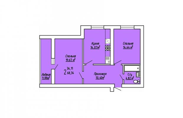 2-комнатная квартира 68.34