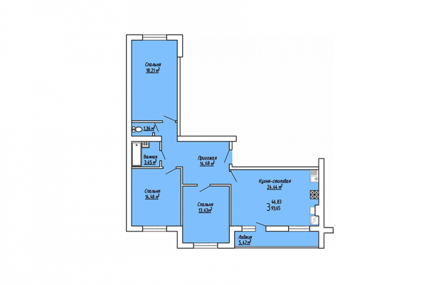 3-комнатная квартира 93.65