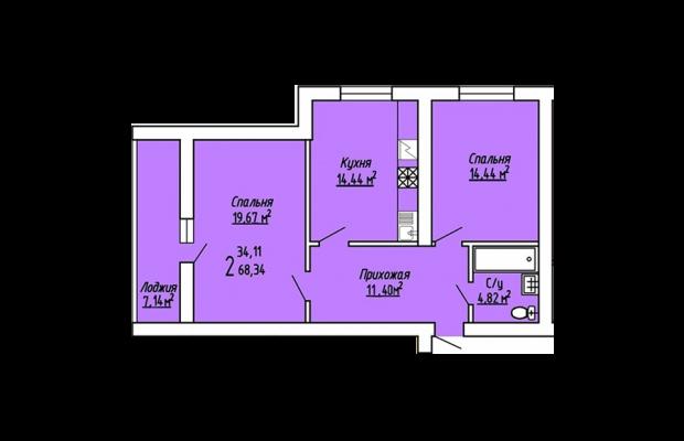 Двухкомнатная квартира 68.34