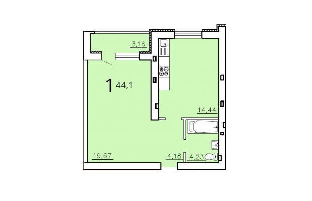 Однокомнатная квартира 44.1