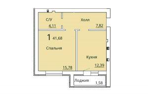 Однокомнатная квартира ЖК Рождественский
