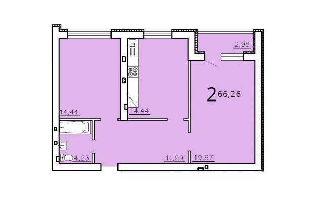 Двухкомнатная квартира 66.26